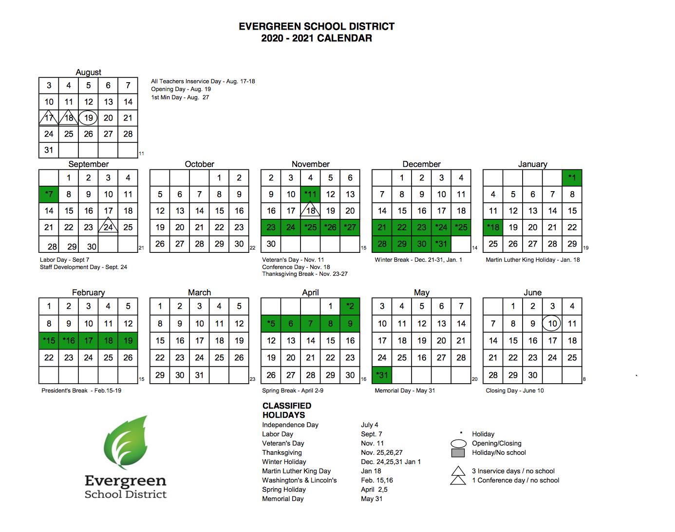 2021 Evergreen School Year