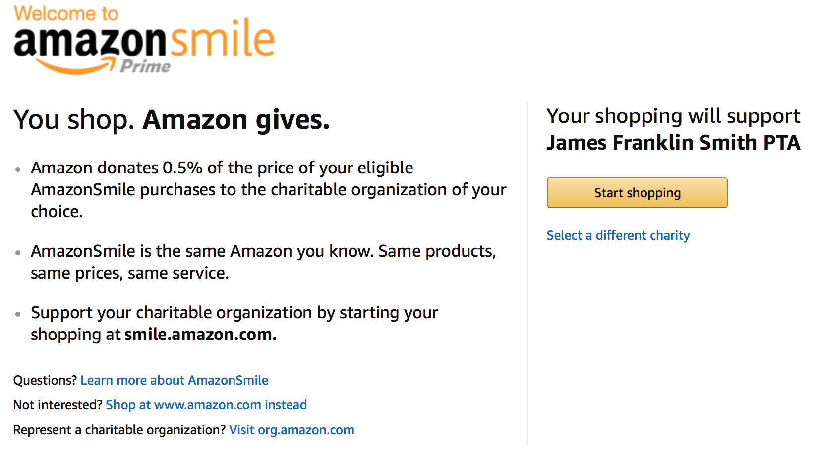 AmazonSmile Donate to JFSPTA